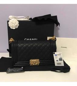 Chanel Boy Média / Couro Caviar / Ouro Velho