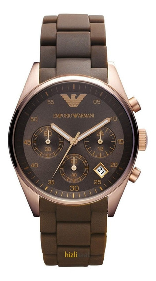Relógio Empórioarmani Ar5891 Orig Chron Anal Brown Gold Rosé