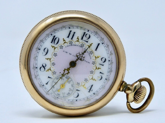 Reloj De Bolsillo Antiguo Cronometro Victoria Waltham Caja Con Chapa De Oro Ca. 1898