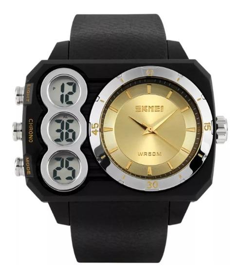 Relógio Masculino Skmei Anadigi 1090 Dourado Original