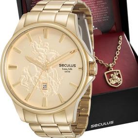 Kit Relógio Seculus Masculino Com Colar 28933gpskda1k1