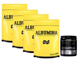 4x Albumina 500g Naturovo (natural) + Creatina 300g Probióti