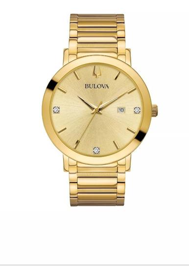 Relógio Bulova 97d115 42mm Mostrador Dourado