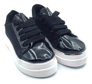 Zapatillas De Nena / Varón Color Negro Talle 27 Al 35