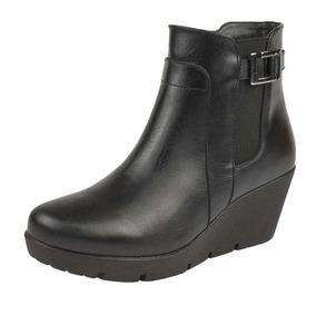 Botas Casuales Para Dama 7cm Negro 016691 De Piel Tp19