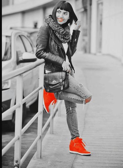 Zapatillas Cuero Naranja