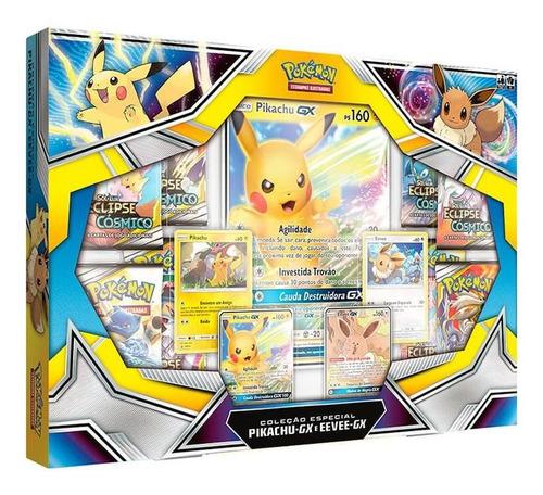 Box Pokémon Tcg Pikachu Gx E Eevee Gx Com Carta Grande