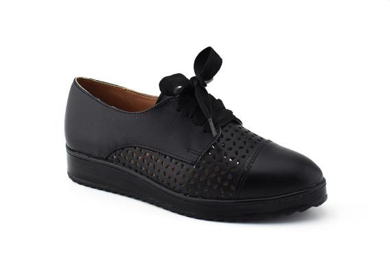 Zapato Casual De Piel Giusto Para Mujer Negro Malena 10912