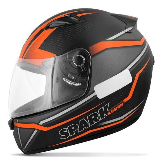 Capacete Ebf Moto New Spark Ilusion Preto Vermelho/laranja
