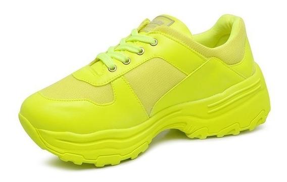 Tênis Dad Sneaker Feminino Quiz 66-1771 Neon