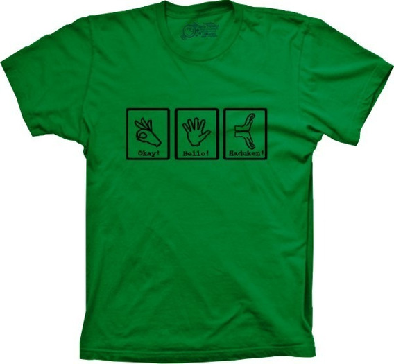 Camiseta Masculina Hadouken Tamanhos Especiais Cores