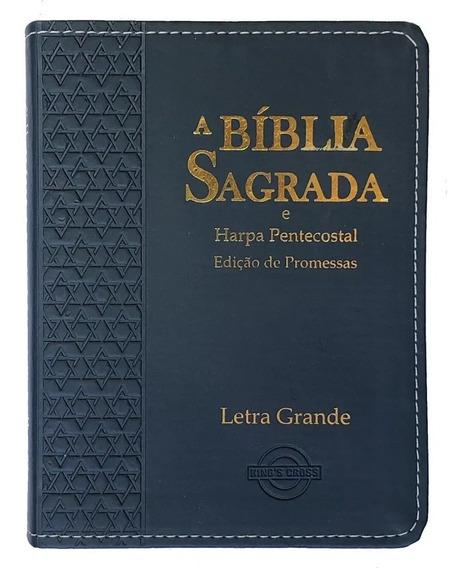 Bíblia Sagrada Grande Com Harpa Cores Masculinas 12x16cm