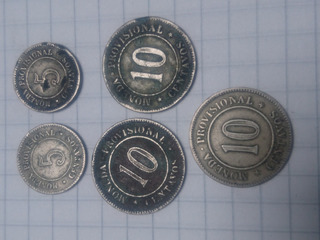 Moneda Provisional 10 Centavos 1879. Lima