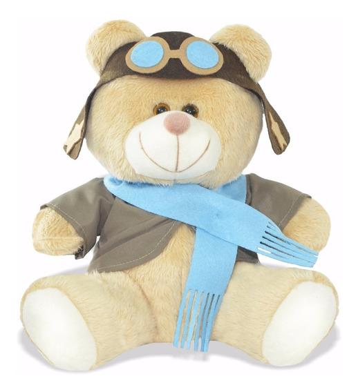 Urso Ursinho De Pelúcia Aviador 30cm Decoração Anti-alérgico