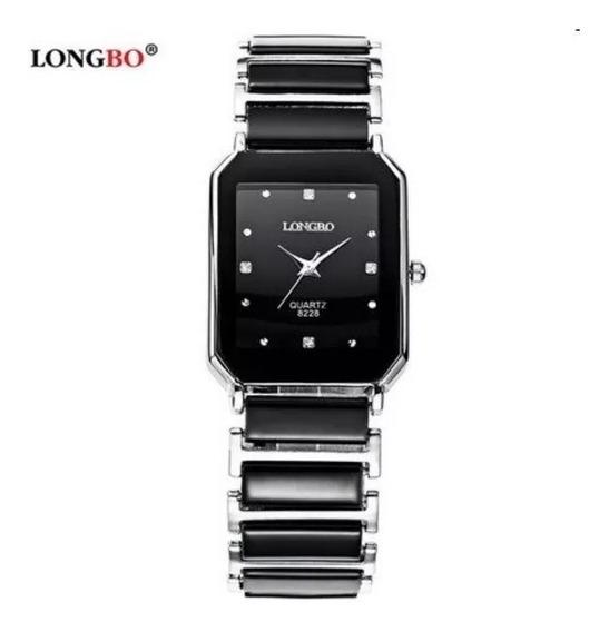 Relógio Feminino Preto Dourado Black Gold Quadrado Longbo