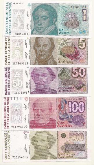 5 Billetes 1, 5, 50, 100 Y 500 Australes Nuevos Sin Circular
