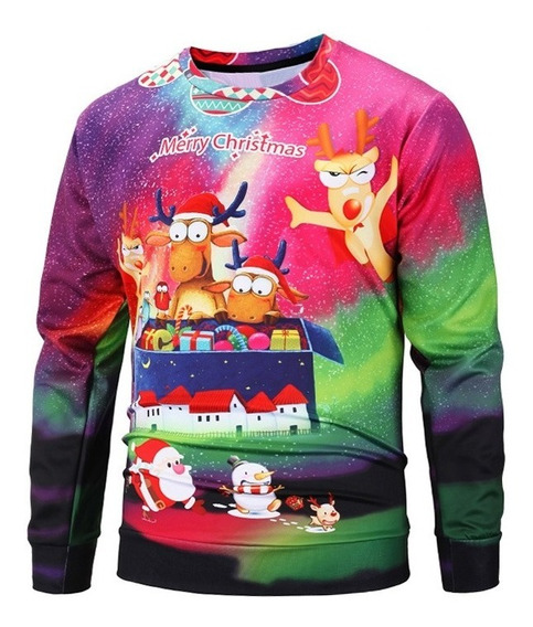 Natal Papai Natal E Impressão Cervo Suéter
