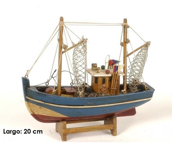 Barco Pesquero De Madera A Escala Miniatura Decorativo