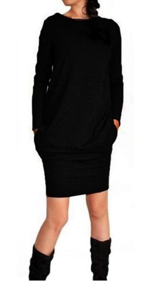 Vestido Juvenil Con Bolsas Moda Para Mujer Algodon 5133