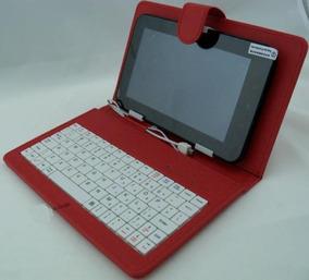 Capa Com Teclado Android P/ Tablet 8 Pol Vermelha + Otg