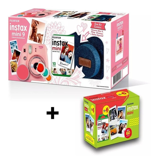 Kit Câmera Instax Mini 9 Rosa Claro (bolsa + 70 Filmes)