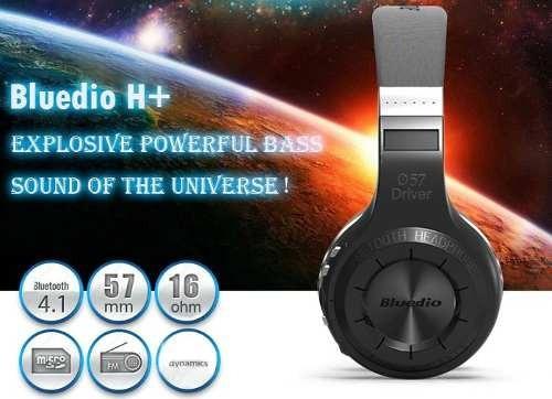 Fone Bluedio H+ Wireless Bluetooth Radio Fm E Sd Preto