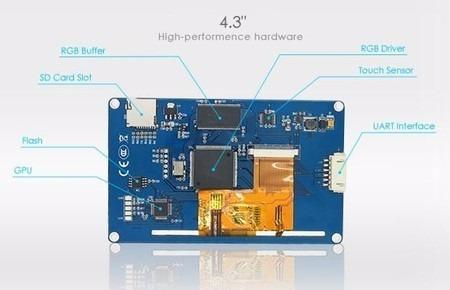 Display Ihm Led Touch 4.3 Gpu Arduino, Raspberry, Pic E Clp