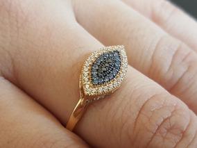 Anel Olho Grego Turco Diferente Em Ouro 18k 750 Com Pedras