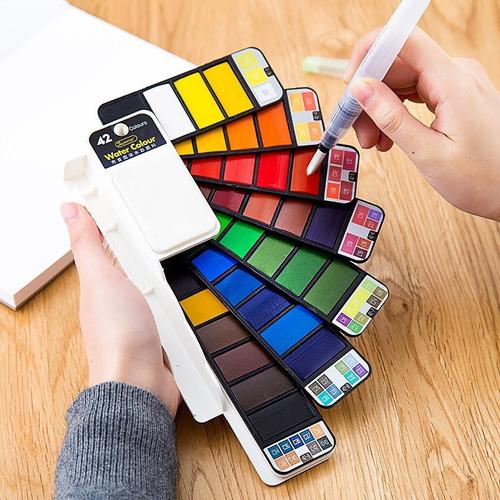 Imagen 1 de 4 de Set Acuarelas Profesionales 42 Colores Pincel Agua Esponja