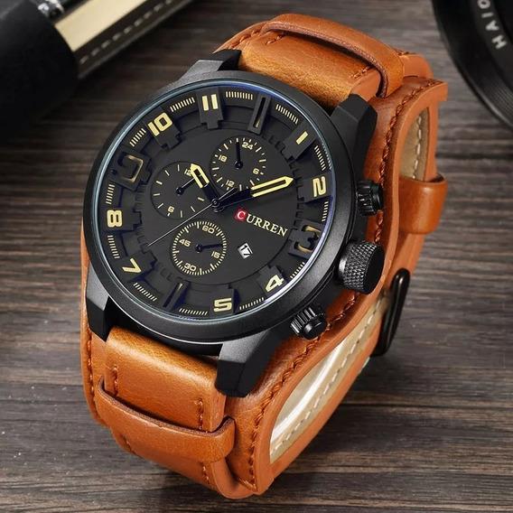 Relógio Curren 8225 Original Couro Social Com Caixinha Toop