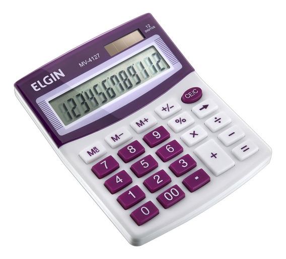 Calculadora Mesa Comercial Escritório 12 Dígitos Elgin Roxa