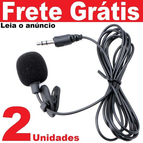 02pçs Mini Microfone De Lapela Plug P2 Stéreo Ótima Captura