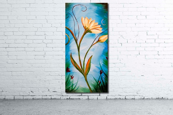 Mural Vertical 52x110cm Cuadro Decorativo Moderno Flores Variadas Diseño Personalizado