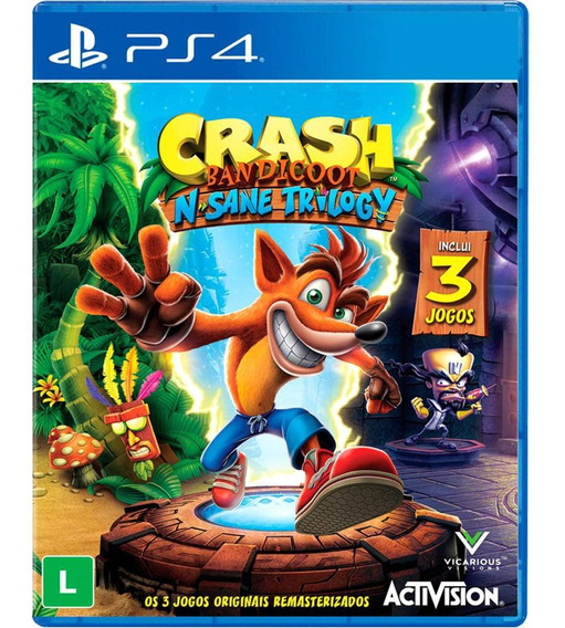 Crash Bandicoot N. Sane Trilogy Ps4 Mídia Física Lacrada