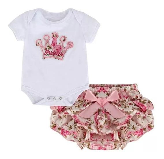 Conjunto Bebê Body Floral + Calcinha Saia