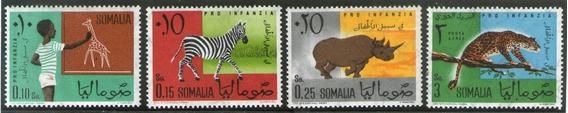 Somalia 4 Sellos Jirafa, Cebra, Rinoceronte, Leopardo 1960