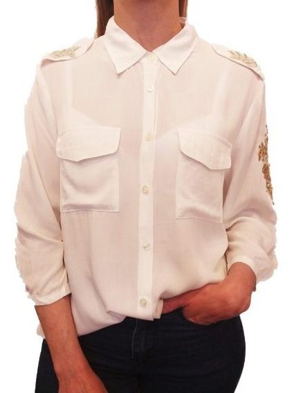 Camisa Mujer Bordada Perlas Importada Canutillos