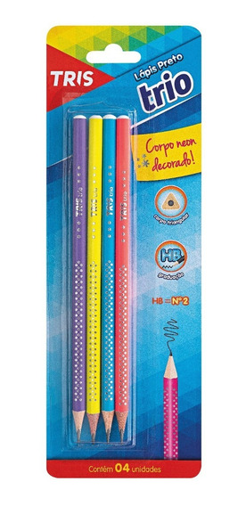 Lápis Preto Escolar Triângular Neon Mina 3mm Tris