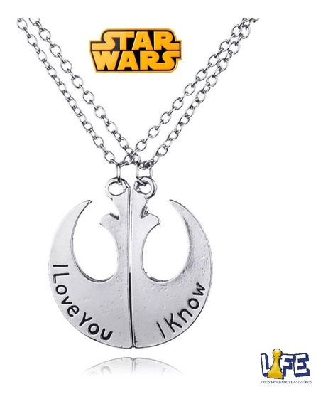 Colar Star Wars Aliança Rebelde Casal Princesa Leia/han Solo