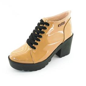 Bota Coturno Quality Shoes Feminina Verniz Amendoa