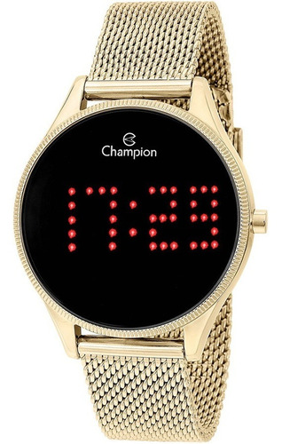 Relógio Champion Digital Redondo Luz Ponto Vermelho Original