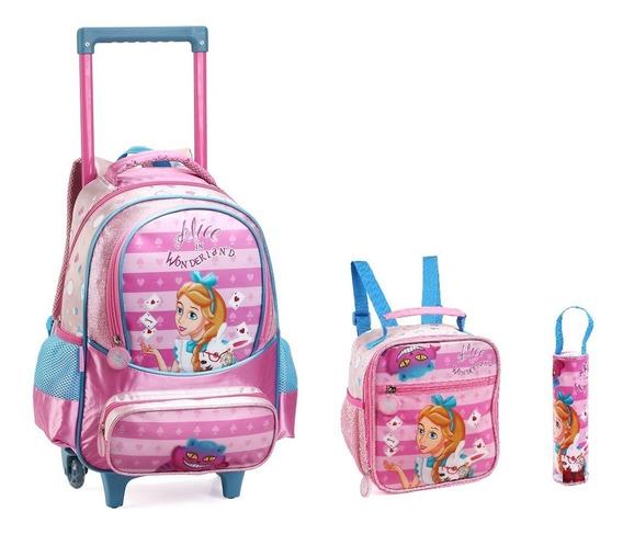 Mochila Infantil Princesa Alice Com Rodinhas Kit Escolar
