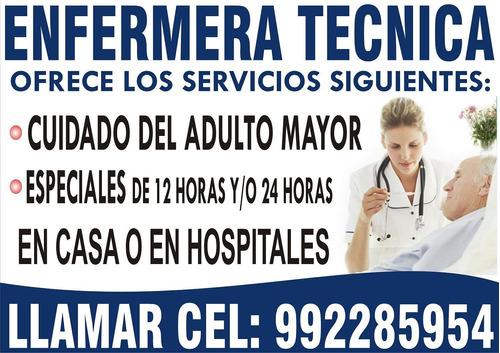 Enfermera Tecnica A Domicilio, Cuidado Del Adulto Mayor
