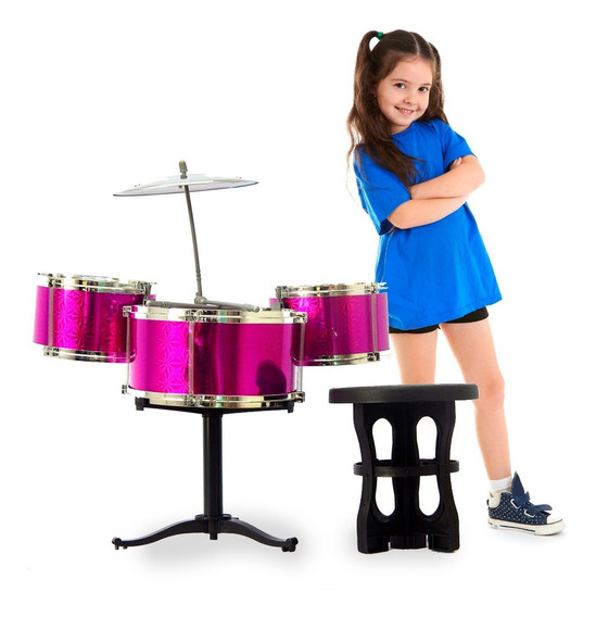 Mini Bateria De Brinquedo Infantil Instrumento Musical Rosa
