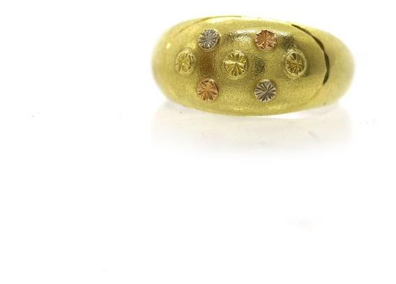 Anel Bombe Ouro Rose Branco Amarelo 18k 750 Aro 21 J21697