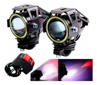 Par Faros Cree Led Moto U7 10w 3000lm Ojo Angel + Switch Sti
