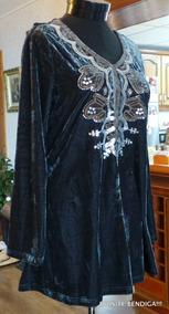 Vestido Polera Bluson Plush Terciopelo Bordado