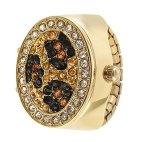 Reloj Con Anillo De Cristal Con Estampado De Leopardo Dorado
