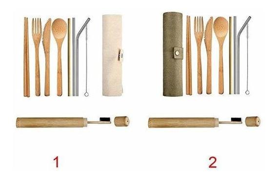 58bh Juego Cubiertos Eco Amigable Utensilio Bambú Reutili