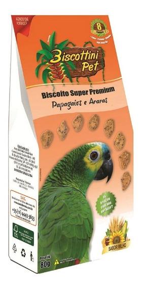 2 Biscoito Biscottini Pet Super Premium Papagaios Araras 80g